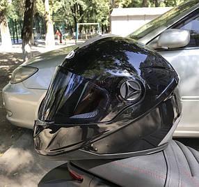 Чёрный шлем интеграл полнопрофильный Foxwell глянец
