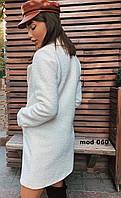 Пальто женское букле барашек на подкладке в цветах. Размер 42-44, 46-48