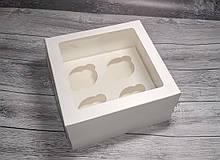 Коробка для 4 кексів, маффінів, капкейків./ 4 кексов, маффинов, капкейков   200х200х105 мм із вікном / с окном