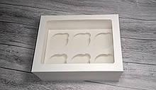 Коробка для 6 кексів, маффінів, капкейків / 6  кексов, маффинов, капкейков. 240х180х110 мм із вікном / с окном