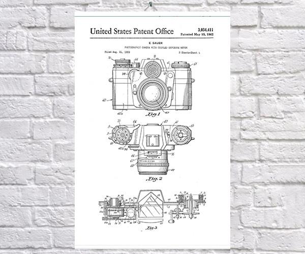 Постер BEGEMOT Патент-чертеж Фотокамера Zeiss 40x61 см Белый (1120769)