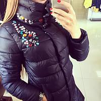 Женская стильная куртка с высоким воротником *КАМНИ* (расцветки), фото 1