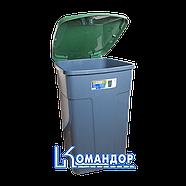 Бак мусорный 90л зелено-серый, фото 2