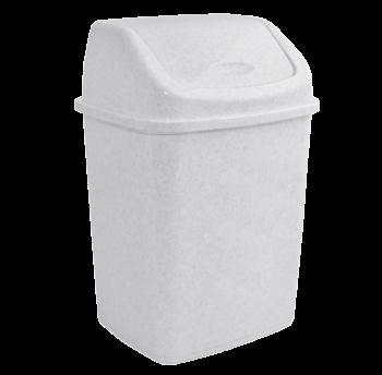 Ведро для мусора 5л с крышкой белый флок