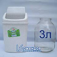 Ведро для мусора 5л с крышкой белый флок, фото 2