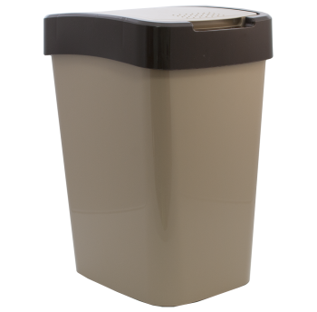 Ведро для мусора Евро 25 л (кремовый - темно-коричневый)