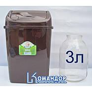 Ведро для мусора 10л с крышкой коричневое, фото 2