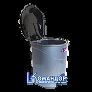 Ведро для мусора с педалью Irak Plastik Bella №1 12л серый металлик, фото 2