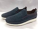 Літні комфортні сині нубукові туфлі Detta, фото 3