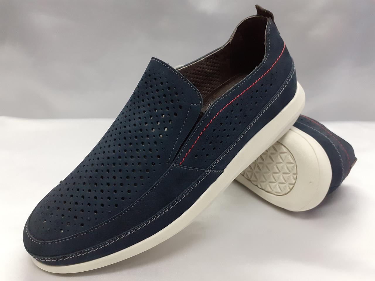 Літні комфортні сині нубукові туфлі Detta