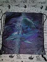 """Сумка для обуви  """" Дельфины  """" сине-черная  1443, фото 1"""