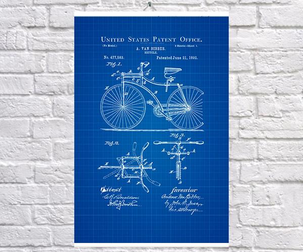 Постер BEGEMOT Патент-чертеж Велосипед 1892г 40x61 см Синий (1120819)