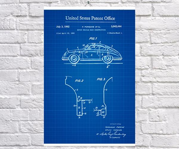Постер BEGEMOT Патент-чертеж Автомобиль Porsche 1962г 40x61 см Синий (1120869)