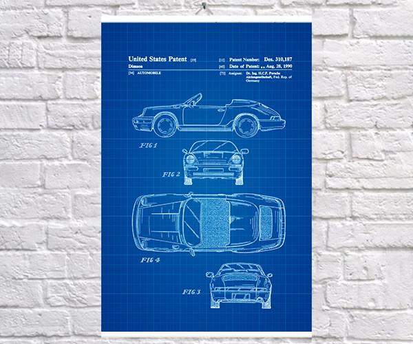 Постер BEGEMOT Патент-чертеж Автомобиль Porsche 911 1990г 40x61 см Синий (1120887)