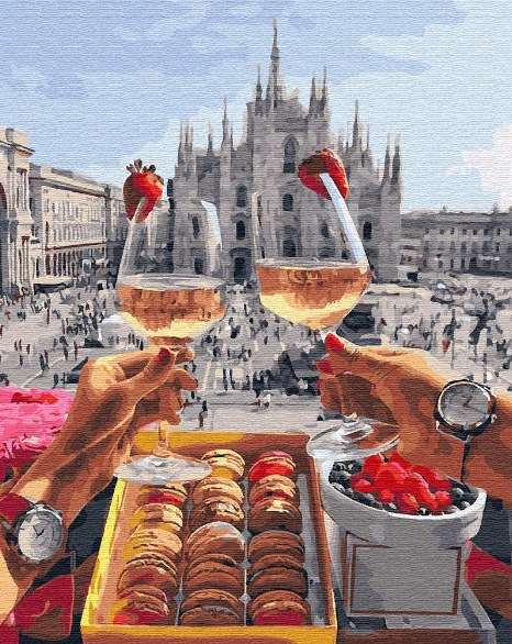 Картина по номерам Завтрак в Милане (BK-GX28592) 40 х 50 см Brushme (Без коробки)