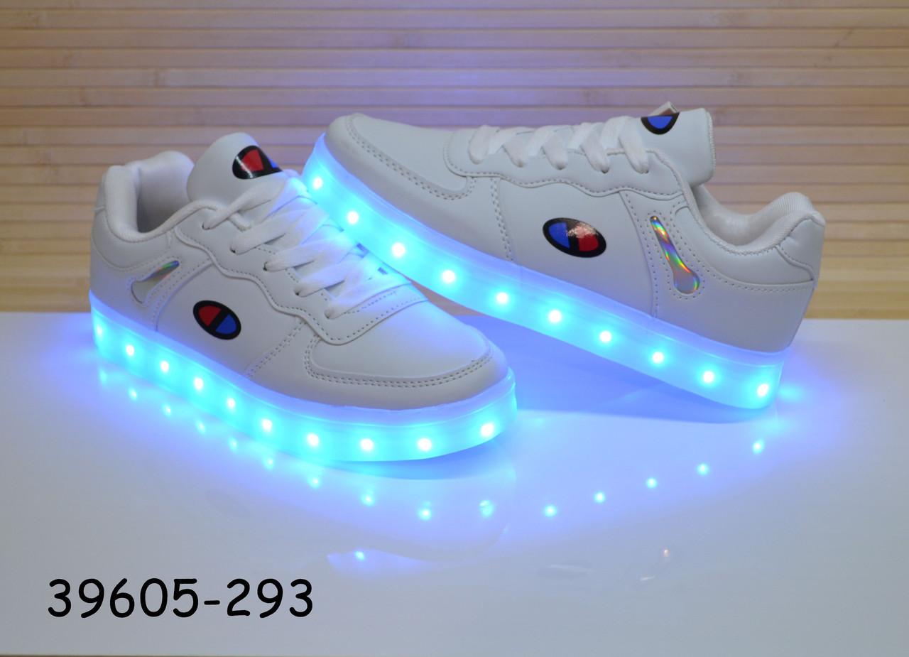 Кроссовки со светящей LED подошвой с USB кабелем размеры  35