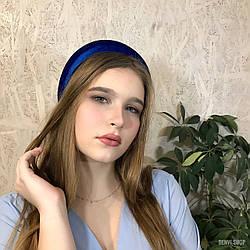 """Оксамитовий об'ємний обруч """"Велюр"""" колір синій"""