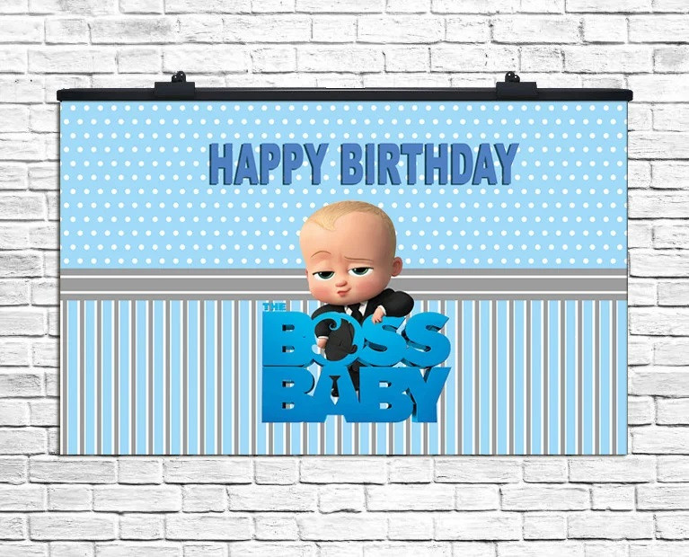 "Плакат для праздника ""Boss BABY"" Happy Birthday Босс Молокосос, 75*120 см"