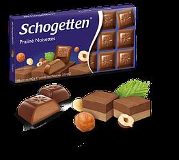 Німецький шоколад молочний Schogetten Praline Noisettes з горіховим праліне 100 грам
