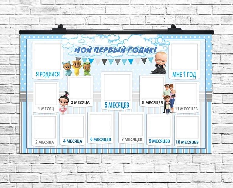"""Плакат 12 месяцев Босс Молокосос """"Мой Первый Годик!"""", 75*120 см"""