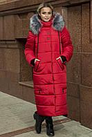 Женское пальто-куртка длинное зимнее 48-58 р цвет красный