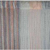 Шторы нити Радуга Дождь с люрексом Белый+Серый+Персиковый, фото 1