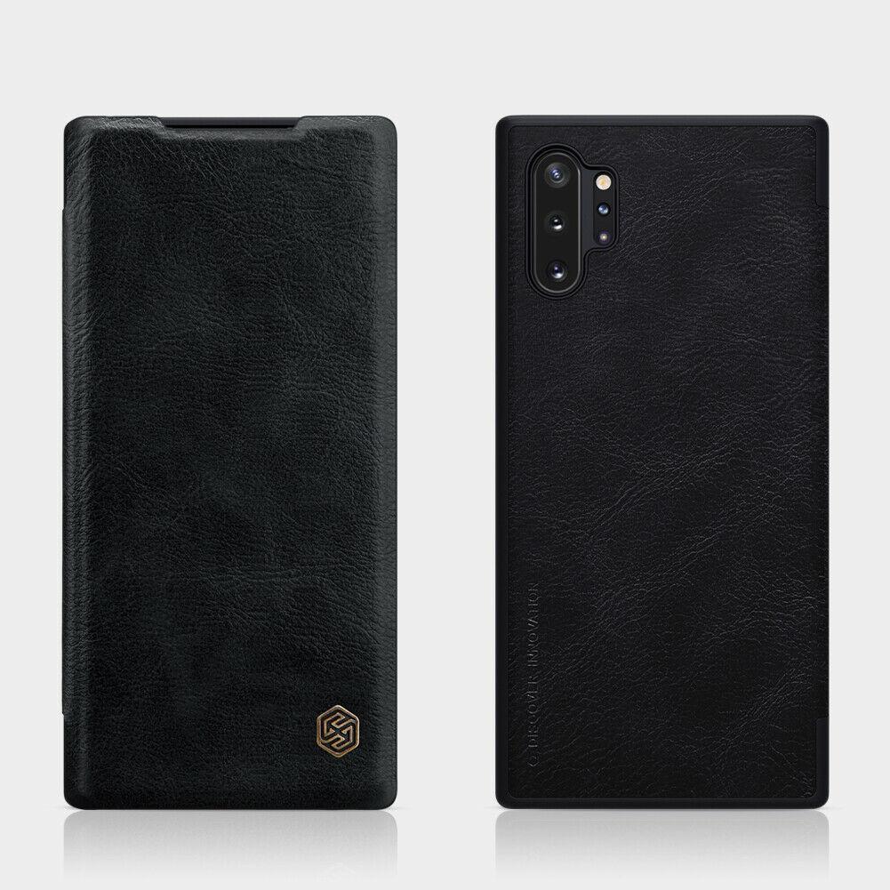 Nillkin Samsung Galaxy Note 10+ Qin leather Black case Кожаный Чехол Книжка
