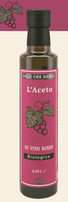 Органический красный винный уксус Sole che Sorge ,250 мл