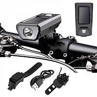 Велофара, велофонарь аккумуляторный, звонок FY-316 + солнечная панель