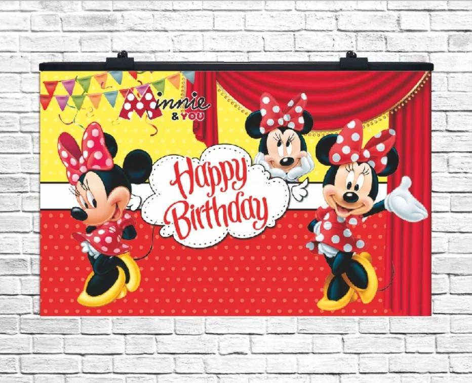 "Плакат для праздника ""Happy Birthday"" Минни Маус , 75*120 см"