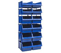 Односторонний пластиковый стеллаж 540-4/550-8 (Ш520хД503хВ1300мм) 12 ящиков