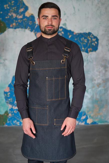 Фартук ( передник ) официанта , бармен  джинсовый черного цвета
