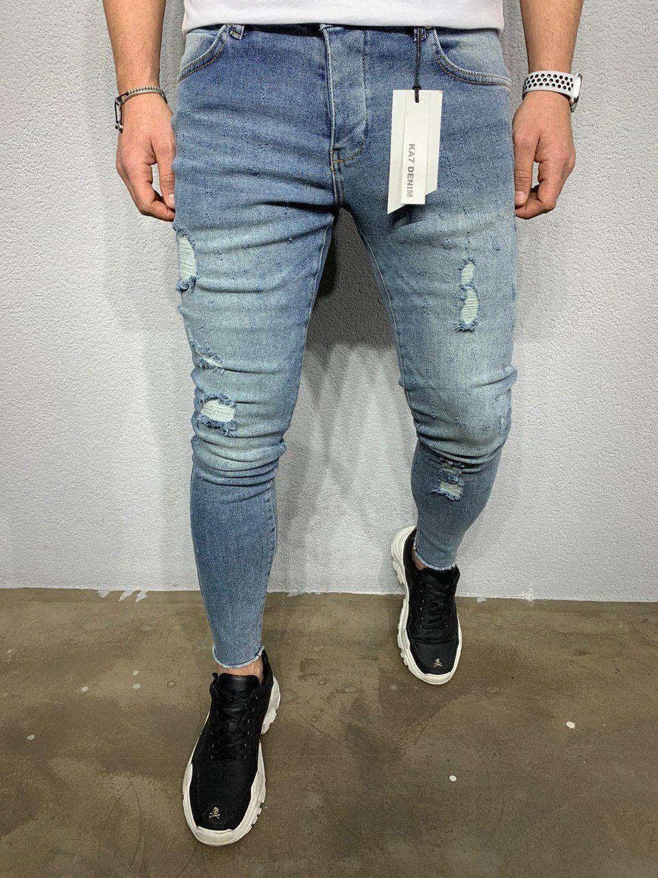 😝 Джинсы - Мужские синие джинсы с двумя белыми рваными коленями