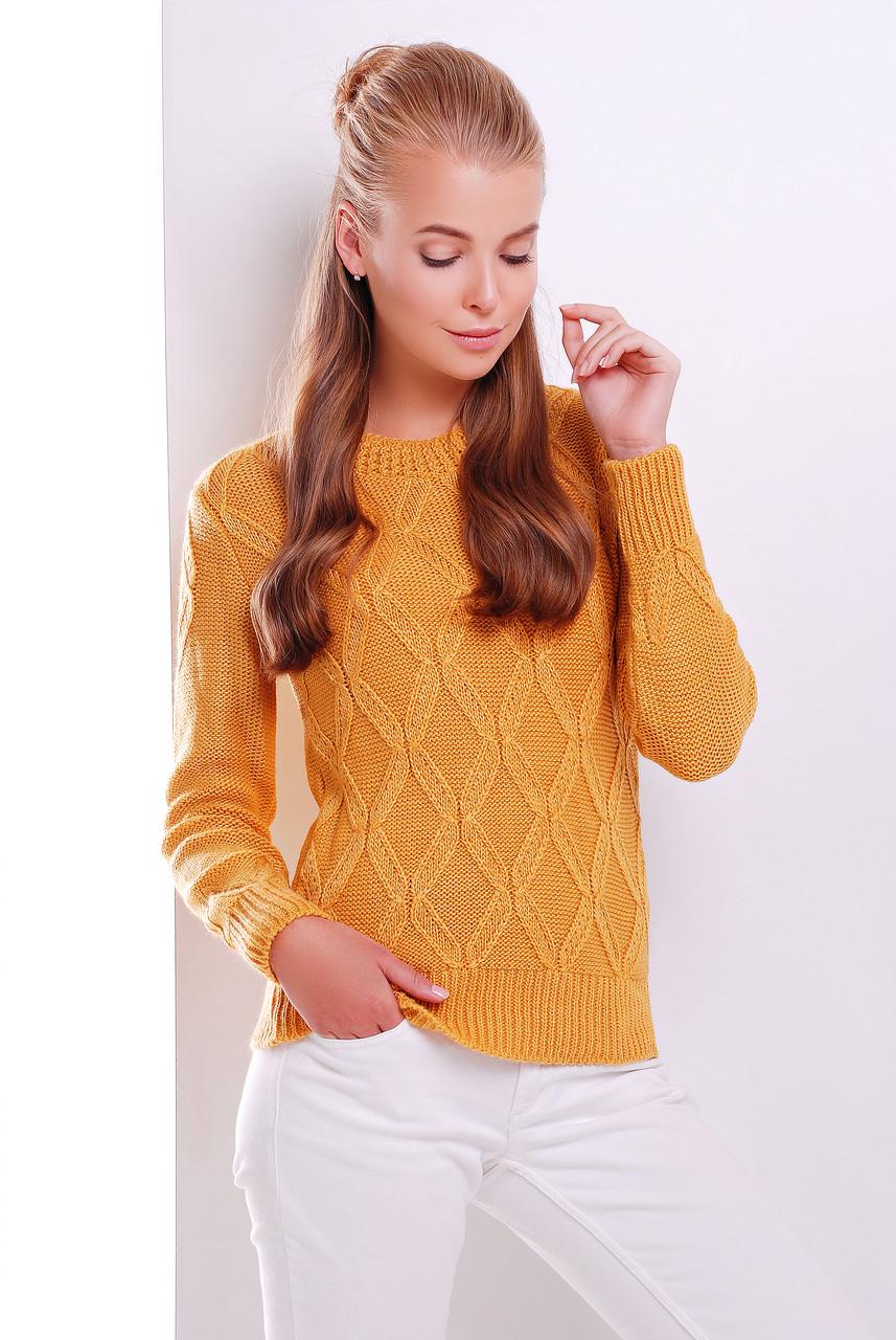 Женский теплый свитер ажурная вязка с круглой горловиной цвет горчица