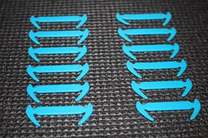 Силиконовые шнурки разной длины для обуви. 12 штук в комплекте (голубой)