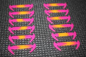 Силиконовые шнурки разной длины для обуви. 12 штук в комплекте (розовый с оранжевым)