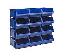 Односторонний пластиковый стеллаж 540-12 (Ш1020хД503хВ950мм) 12 ящиков, фото 1