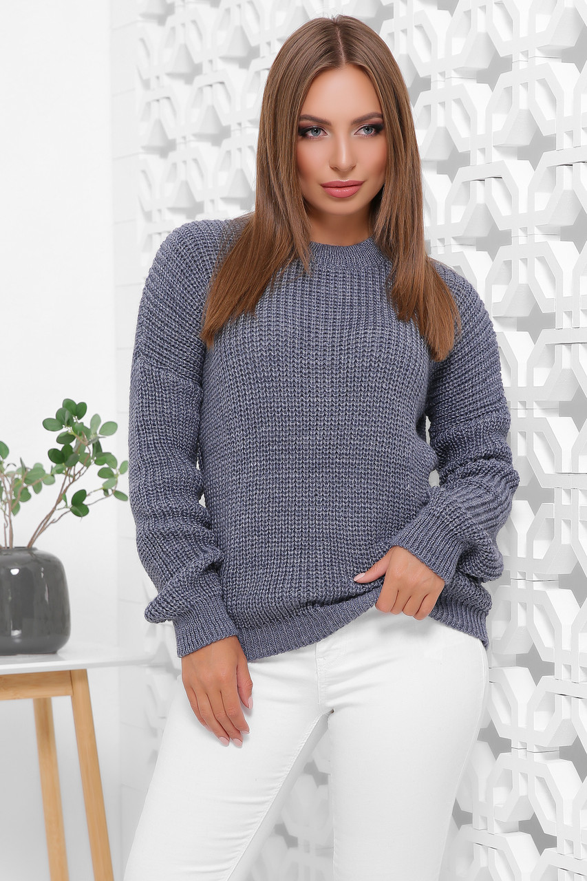 Оригинальный женский свитер оверсайз крупной вязки цвет светлый джинс
