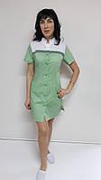 Медицинский женский халат Мила хлопок короткий рукав, фото 1