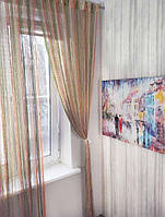 Шторы нити Радуга Дождь с люрексом Оранжевый+Шампань+ Бежевый+Оливковый, фото 1
