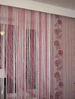 Шторы нити Радуга Дождь с люрексом Белый+Розовый+Фрезовый