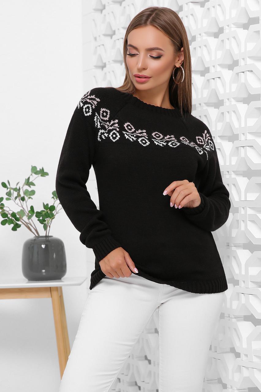 Вязаный женский свитер с красивым орнаментом цвет черный