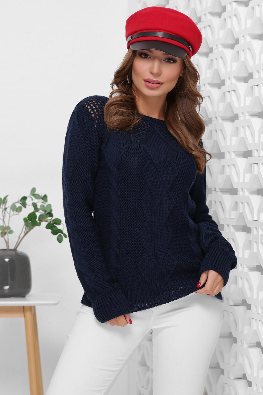 """Универсальный мягкий вязаный универсальный свитер с вырезом """"лодочка"""" цвет темно-синий"""