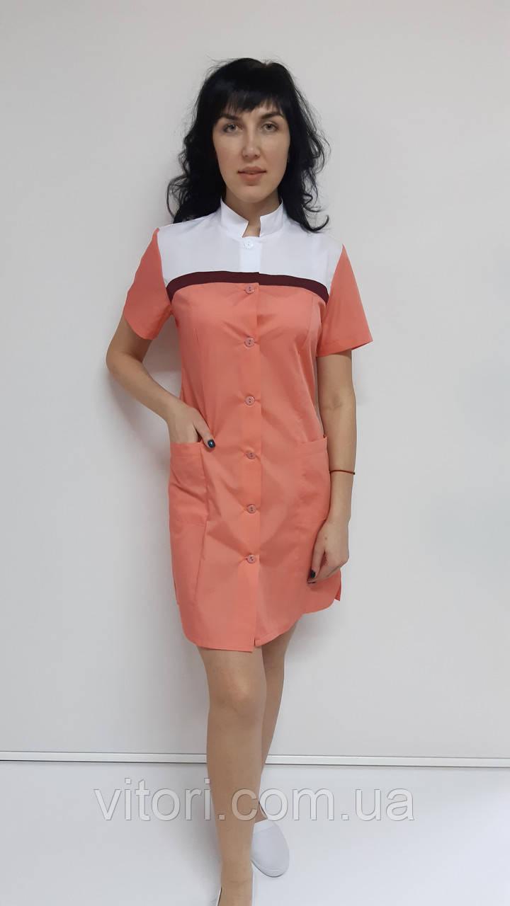 Медицинский женский халат Мила хлопок короткий рукав