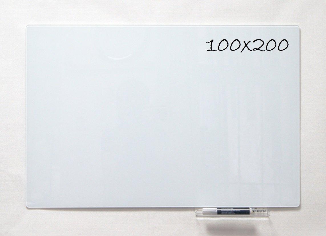 Стеклянная доска 100 см х 200 см безрамная магнитно-маркерная . Скрытое крепление