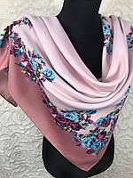 Женский шерстяной платок в украинском стиле розового цвета с цветочным принтом и растительными узорами