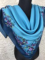 Женский шерстяной платок в украинском стиле голубого цвета с цветочным принтом и растительными узорами, фото 1