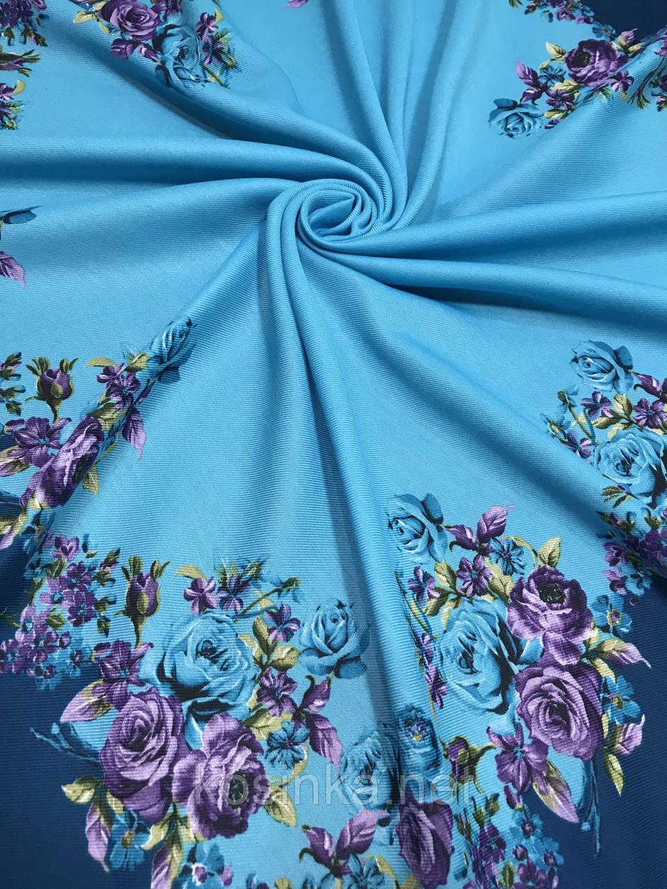 Женский шерстяной платок в украинском стиле голубого цвета - Kosinka.net