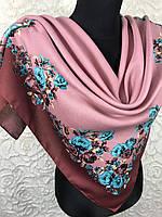 Женский шерстяной платок в украинском стиле грязно-розового цвета с цветочным принтом и растительными узорами
