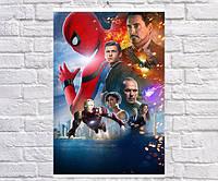 Постер BEGEMOT Мстители Супергерои MARVEL Человек паук Питер паркер и Тони Старк Железный человек 61x90 см (1121043-1)